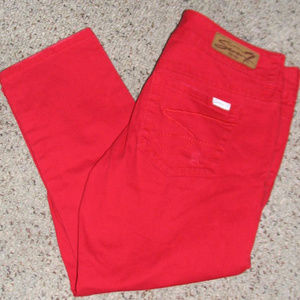 Seven 7 red distressed crop jeans